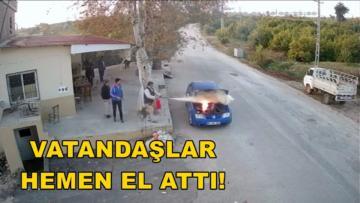 Mersin'de otomobilde yangın çıktı!